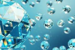 abstrakt begreppbakgrund för illustration 3D av kaotiska låga poly sfärer som består av ädelstenen eller diamanten Partikel i dam royaltyfri illustrationer