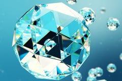 abstrakt begreppbakgrund för illustration 3D av kaotiska låga poly sfärer som består av ädelstenen eller diamanten Partikel i dam vektor illustrationer