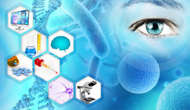 Abstrakt begreppbakgrund för vetenskaplig forskning royaltyfri illustrationer