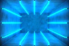 abstrakt begreppblått för illustration 3D hyr rum inre med blåa neonlampor futuristic arkitekturbakgrund Ask med betong royaltyfri illustrationer