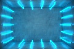abstrakt begreppblått för illustration 3D hyr rum inre med blåa neonlampor futuristic arkitekturbakgrund Ask med betong stock illustrationer