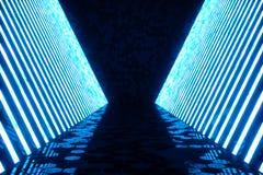 abstrakt begreppblått för tolkning 3D hyr rum inre med blåa neonlampor futuristic arkitekturbakgrund Modell för ditt Royaltyfria Foton