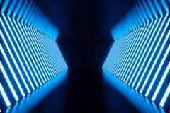 abstrakt begreppblått för tolkning 3D hyr rum inre med blåa neonlampor futuristic arkitekturbakgrund Modell för ditt Royaltyfria Bilder