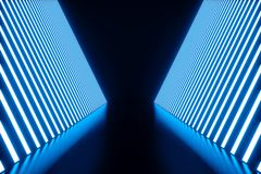 abstrakt begreppblått för tolkning 3D hyr rum inre med blåa neonlampor futuristic arkitekturbakgrund Modell för ditt Royaltyfri Bild