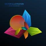 Abstrakt begreppfasetter geometrisk ovanlig bakgrund för perspektiv mot den blåa gladlynt färgglada skyen för illustrationbanhopp Fotografering för Bildbyråer