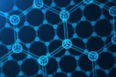 abstrakt begreppnanoteknik för tolkning 3d, glödande sexhörnig geometrisk formnärbild, atom- struktur för begreppsgraphene Arkivfoto