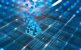 Abstrakt begreppsBlockchain nätverk Fintech teknologi Global skydds- och dataöverföring royaltyfri foto