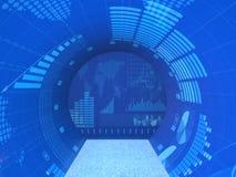 Abstrakt begreppskärmarna med olik finansiell information Arkivfoto