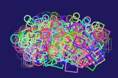 Abstrakt begreppsmässig ellips & modell för fyrkantig ask Diagram, vektor, textur & geometriskt stock illustrationer