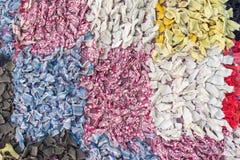 Abstrakt begrepptexturer med fyrkanter från färgtrasor Fotografering för Bildbyråer
