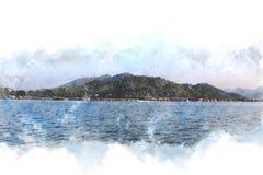 Abstrakt bergkulle och flod på vattenfärgmålningbakgrund stock illustrationer