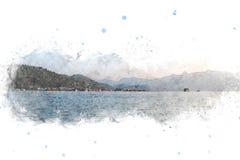 Abstrakt bergkulle på vattenfärgmålningbakgrund stock illustrationer