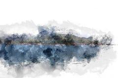 Abstrakt bergkulle på vattenfärgmålningbakgrund royaltyfri illustrationer