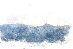 Abstrakt bergkulle på vattenfärgmålningbakgrund vektor illustrationer