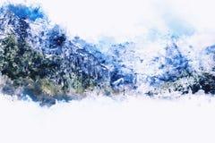 Abstrakt berglandskap på vit bakgrund Arkivfoton