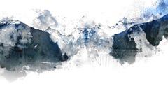 Abstrakt berglandskap på vit bakgrund Fotografering för Bildbyråer