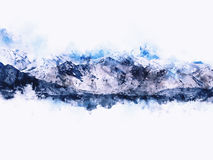 Abstrakt berglandskap på vit bakgrund Royaltyfri Bild