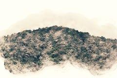 Abstrakt bergmaximum på bakgrund för vattenfärgillustrationmålning royaltyfri illustrationer
