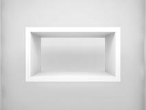 Abstrakt beståndsdel för design 3D Tom rektangelvithylla Royaltyfri Foto