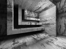 Abstrakt betongväggrum teckning för blå kompass för arkitekturbakgrund djup över Royaltyfri Fotografi