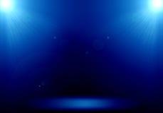 Abstrakt bild av den blåa strålkastaren för belysningsignalljus 2 på golvet s Royaltyfri Fotografi