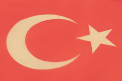 Abstrakt bild av ett fragment av flaggan av Turkiet Arkivfoto