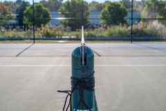Abstrakt bild av tennisbanan och tennisutrustning Royaltyfri Fotografi