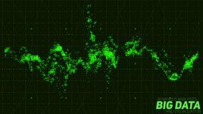 Abstrakt binär våg för Violet stor visualization för data 3D Invecklade finansiella data dragar analys Räknemaskin och diagram på Royaltyfri Bild