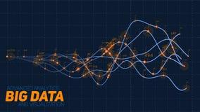 Abstrakt binär våg för Violet stor visualization för data 3D Invecklade finansiella data dragar analys Räknemaskin och diagram på vektor illustrationer