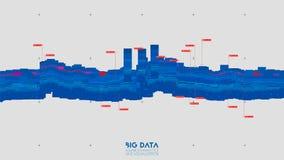 Abstrakt binär våg för Violet stor visualization för data 3D Invecklade finansiella data dragar analys Räknemaskin och diagram på stock illustrationer