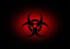Abstrakt biohazardsymbolmörker - röd bakgrund Royaltyfri Fotografi