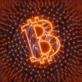 Abstrakt Bitcoin tecken som byggs som en samling av transaktioner i Blockchain den begreppsmässiga illustrationen 3d Arkivfoton