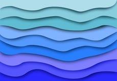 Abstrakt blå bakgrund för havsvåglager Pappers- klippt konstdesignmodell vektor illustrationer