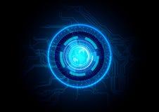 Abstrakt blå bakgrund för strömkretsteknologi Arkivfoto
