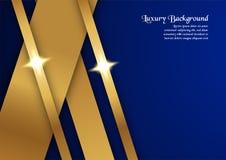 Abstrakt blå bakgrund i högvärdigt begrepp med den guld- gränsen Arkivbilder
