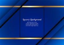 Abstrakt blå bakgrund i högvärdigt begrepp med den guld- gränsen Royaltyfria Bilder