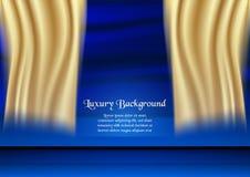 Abstrakt blå bakgrund i högvärdigt begrepp med guld- färg Tem Fotografering för Bildbyråer