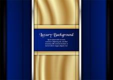 Abstrakt blå bakgrund i högvärdigt begrepp med guld- färg Tem Royaltyfri Foto