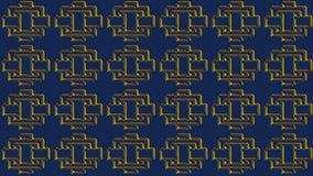 Abstrakt blå bakgrund med guld- modeller, rasterbild för th Arkivfoton