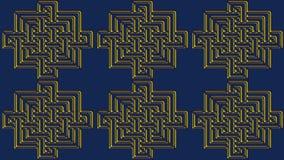 Abstrakt blå bakgrund med guld- modeller, rasterbild för th Arkivbilder