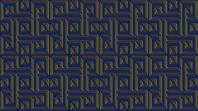Abstrakt blå bakgrund med guld- modeller, rasterbild för th Royaltyfria Foton