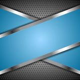 Abstrakt blå bakgrund med metallisk design Royaltyfria Bilder