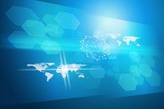 Abstrakt blå bakgrund med molekylen Royaltyfria Foton