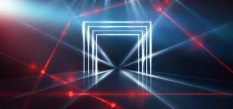 Abstrakt blå bakgrund med neonljus, tunnel, korridor, röda laser-strålar, rök royaltyfria bilder
