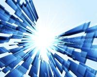 Abstrakt blå bakgrund med rektangeltextur Arkivbilder