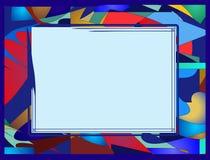 Abstrakt blå bakgrund med tomt rektangulärt utrymme Royaltyfri Bild