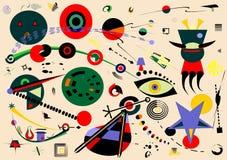 Abstrakt blå bakgrund, utsmyckade geometriska och krökta former, surrealismkonststil 18-58 Arkivbilder