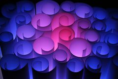 abstrakt blå färgglad paper red till twirls Arkivfoto