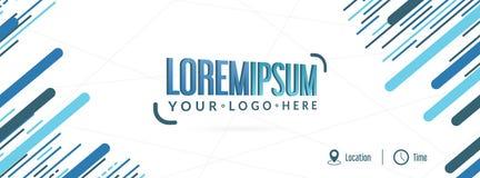 Abstrakt blå färgrik händelsebanerdesign, redigerbar illustration, ställe för din logo royaltyfri illustrationer