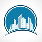 Abstrakt blå fastighetsymbolsdesign Arkivfoto